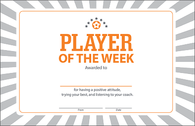 Player of the Week Certificate