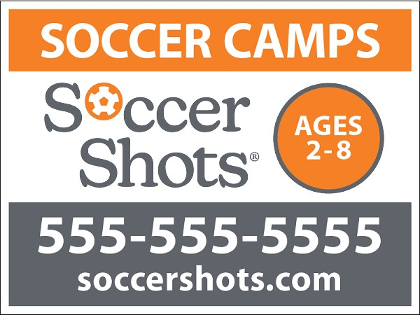 "18"" x 24"" Yard Sign - Soccer Camps - Phone Number"