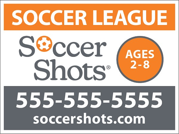 "18"" x 24"" Yard Sign - Soccer League - Phone Number"